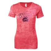 Next Level Ladies Junior Fit Fuchsia Burnout Tee-WCU w/Head Foil