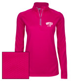 Ladies Pink Raspberry Sport Wick Textured 1/4 Zip Pullover-WCU w/Head