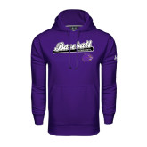 Under Armour Purple Performance Sweats Team Hood-Baseball Script w/ Bat Design