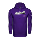 Under Armour Purple Performance Sweats Team Hoodie-Softball Script w/ Bat Design
