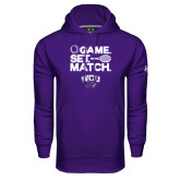 Under Armour Purple Performance Sweats Team Hood-Game Set Match Tennis Design