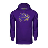 Under Armour Purple Performance Sweats Team Hood-Catamount Head