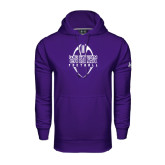 Under Armour Purple Performance Sweats Team Hood-Tall Football Design