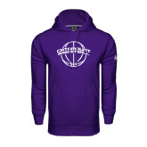 Under Armour Purple Performance Sweats Team Hood-Basketball Ball Design