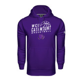Under Armour Purple Performance Sweats Team Hoodie-Basketball Stacked Design
