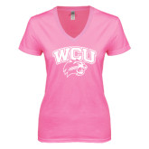 Next Level Ladies Junior Fit Deep V Pink Tee-WCU w/Head