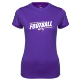 Ladies Syntrel Performance Purple Tee-Football Fancy Lines