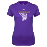 Ladies Syntrel Performance Purple Tee-Basketball Net Design