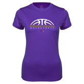 Ladies Syntrel Performance Purple Tee-Basketball Half Ball