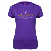 Ladies Syntrel Performance Purple Tee-Abstract Volleyball