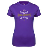 Ladies Syntrel Performance Purple Tee-Softball Seams Design