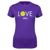 Ladies Syntrel Performance Purple Tee-Love Tennis