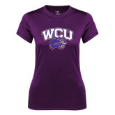 Ladies Syntrel Performance Purple Tee-WCU w/Head