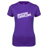 Ladies Syntrel Performance Purple Tee-Western Carolina Slashes