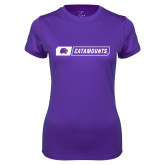 Ladies Syntrel Performance Purple Tee-Catamounts in Box