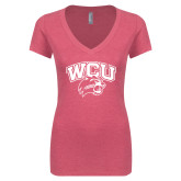Next Level Ladies Vintage Pink Tri Blend V-Neck Tee-WCU w/Head