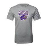 Grey T Shirt-Western Carolina Catamounts Stacked