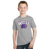 Youth Sport Grey T Shirt-WCU w/Head