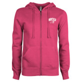 ENZA Ladies Fuchsia Fleece Full Zip Hoodie-WCU w/Head
