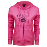ENZA Ladies Fuchsia Fleece Full Zip Hoodie-WCU w/Head Foil