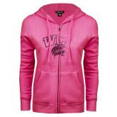 ENZA Ladies Fuchsia Fleece Full Zip Hoodie-WCU w/Head Foil
