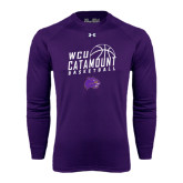 Under Armour Purple Long Sleeve Tech Tee-Basketball Stacked Design