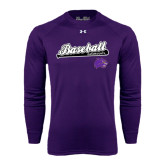 Under Armour Purple Long Sleeve Tech Tee-Baseball Script w/ Bat Design