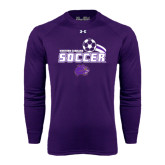 Under Armour Purple Long Sleeve Tech Tee-Soccer Swoosh Design