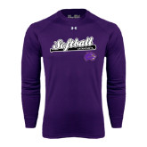 Under Armour Purple Long Sleeve Tech Tee-Softball Script w/ Bat Design