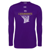 Under Armour Purple Long Sleeve Tech Tee-Basketball Net Design