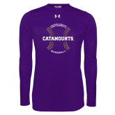 Under Armour Purple Long Sleeve Tech Tee-Baseball Seams Design