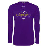 Under Armour Purple Long Sleeve Tech Tee-Abstract Volleyball