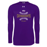 Under Armour Purple Long Sleeve Tech Tee-Softball Seams Design
