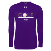 Under Armour Purple Long Sleeve Tech Tee-Golf Lines Design