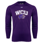 Under Armour Purple Long Sleeve Tech Tee-WCU w/Head