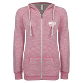 ENZA Ladies Hot Pink Marled Full Zip Hoodie-WCU w/Head