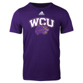 Adidas Purple Logo T Shirt-WCU w/Head