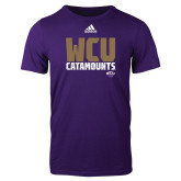 Adidas Purple Logo T Shirt-Adidas WCU Catamounts Logo