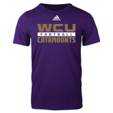 Adidas Purple Logo T Shirt-Adidas WCU Catamounts Football Logo
