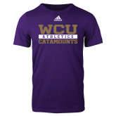 Adidas Purple Logo T Shirt-Adidas WCU Catamounts Athletics Logo