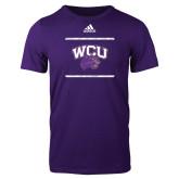 Adidas Purple Logo T Shirt-Adidas WCU Logo