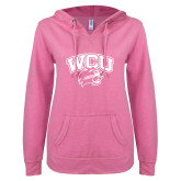 ENZA Ladies Hot Pink V Notch Raw Edge Fleece Hoodie-WCU w/Head