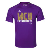 Adidas Climalite Purple Ultimate Performance Tee-Adidas WCU Catamounts Logo