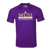 Adidas Climalite Purple Ultimate Performance Tee-Adidas WCU Catamounts Athletics Logo