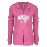 ENZA Ladies Hot Pink Light Weight Fleece Full Zip Hoodie-WCU w/Head