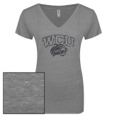 ENZA Ladies Graphite Melange V Neck Tee-WCU w Wildcat Head Graphite Soft Glitter