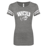 ENZA Ladies Dark Heather/White Vintage Triblend Football Tee-WCU w/Head