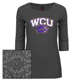 Ladies Charcoal Heather Tri Blend Lace 3/4 Sleeve Tee-WCU w/Head