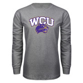 Grey Long Sleeve T Shirt-WCU w/Head