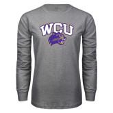 Grey Long Sleeve T Shirt-WCU w/Head